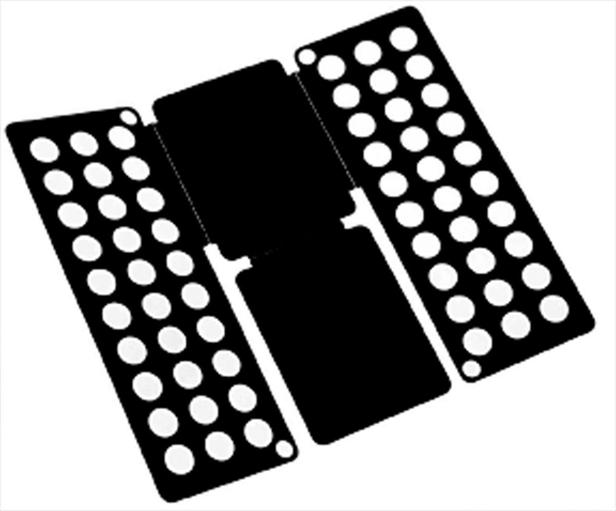 Приспособление для складывания одежды Sima-land, цвет: черный1411846-черныйПриспособление для складывания одежды Sima-land поможет навести порядок в вашем шкафу. С ним вы сможете быстро и аккуратно сложить вещи. Приспособление подходит для складывания полотенец, рубашек поло, вещей с короткими и длинными рукавами, футболок, штанов. Не подойдет для больших размеров одежды. Приспособление выполнено из качественного прочного пластика. Изделие компактно складывается и не занимает много места при хранении. Размер в сложенном виде: 40 х 16 см. Размер в разложенном виде: 48 х 40 см.