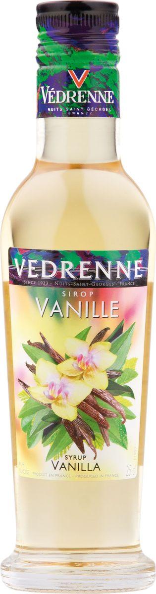 Vedrenne ваниль сироп, 250 мл5060295130016В настоящее время компания Vedrenne считается одним из лучших производителей высококлассных сиропов, отличающихся натуральным вкусом, а также насыщенным ароматом и глубоким цветом. Фруктовые сиропы Vedrenne пользуются большой популярностью не только во Франции (где их широко используют как в сегменте HoReCa, так и в домашних условиях), но и экспортируются более чем в 50 стран мира.Сиропы изготавливаются на основе натурального растительного сырья, фруктовых и ягодных соков прямого отжима, цитрусовых настоев, а также с использованием очищенной воды без вредных примесей, что позволяет выдержать все ценные и полезные свойства натуральных фруктово-ягодных плодов и трав. В состав сиропов входит только натуральный сахар, произведенный по традиционной технологии из сахарозы.Благодаря высокому содержанию концентрированного фруктового сока сиропы Vedrenne обладают изысканным ароматом и натуральным вкусом, являются эффективным подсластителем при незначительной калорийности. Они оптимизируют уровень влажности и процесс кристаллизации десертов, хорошо смешиваются с другими ингредиентами и способствуют улучшению вкусовых качеств напитков и десертов.Сиропы Vedrenne разливаются в стеклянные бутылки с яркими этикетками, на которых изображен фрукт, ягода или другой ингредиент, определяющий вкусовые оттенки того или иного продукта Vedrenne. Емкости с сиропами Vedrenne герметичны и поэтому не позволяют содержимому контактировать с микроорганизмами и другими губительными внешними воздействиями. Кроме того, стеклянные бутылки выглядят оригинально и стильно. Сироп Ваниль производят из натуральных продуктов, используя при этом чистый экстракт ванили, именно поэтому он имеет насыщенные нотки. Нежный аромат и вкус ванили идеально подходят для использования в кондитерском деле. Сироп Ваниль добавляют в коктейли, лимонад, холодный чай, кофе и компоты. Он великолепен в качестве пропиток для пирожных и тортов, его, кстати, добавляют и в соусы. Самый попу