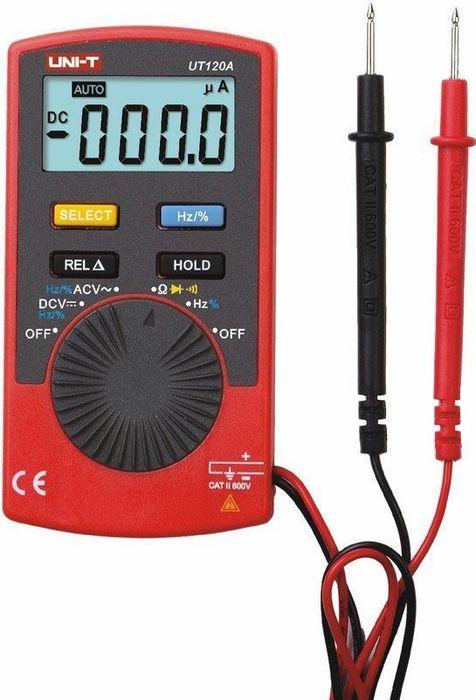 Портативный мультиметр Unit UT120A13-2019Мульти?метр —электроизмерительный прибор который включает в себя несколько функций и набор измеряемых параметров. Приборы 120 серии являются компактными мультиметрами, являющими собой логическое развитие 10 серии. Теперь по настоящему компактные мультиметры способны поддерживать гораздо более широкий диапазон измерений. Несмотря на свой компатный размер, они включают в себя отличный набор функций. В мультиметре 120A есть функии измерения напряжения, сопротивления, частоты, тестирования диодов и прозвонки цепи, функция автоматического отключения и удержания данных. Также в комлпекте поставляется защитный бокс и щупы. Калибровка и тестирование приборов произведено под контролем компании REXANT INTERNATIONAL.Технические характеристики - Разрядность шкалы мультиметра: 4000 отсчетов - Постоянное напряжение: 400mV/4V/40V/600V: ±(0.8%+3) - Переменное напряжение: 4V/40V/600V: ±(1,2%+3) - Сопротивление: 400?/4K?/40K?/400K?/4M?/40M?: ±(1%+2) - Частота: 10Hz/100kHz: ±(0.5%+3) - Скважность 0,1% ~ 99.9% - Тестирование диодов- Прозвонка соединений - Удержание показаний DATA HOLD - Ударопрочный корпус - Питание: батарея 3В CR 2032- Размер: 109х57.9х13 мм- Вес: 75.3 гр.