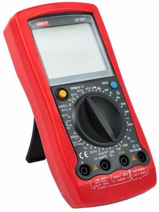 Автомобильный тестер Unit UT10713-0027Автомобильный тестер UNI-T UT107Диапазоны измерений- Постоянное напряжение: 200 мВ / 2 В / 20 В / 1000 В.- Переменное напряжение: 200 В / 750 В.- Постоянный ток: 200 мА / 10 А.- Сопротивление: 200 Ом / 2 кОм / 20 кОм / 200 кОм / 20 МОм.- Частота: 2 кГц.- Температура: -40°С ~ 1000°С.- Коэффициент заполнения: 1% ~ 90%.Основные рабочие функции- Разрядность дисплея - до 2000.- Тестирование аккумуляторных батарей 12 В.- Прозвонка межсоединений со звуковым сигналом, диодный тест.- Индикация перегрузки, отрицательной полярности, разряда батареи.- Сохранение показаний (HOLD).- Измерение угла опережения зажигания и скорости вращения двигателя.- Питание: 9 В (6F22 Крона).