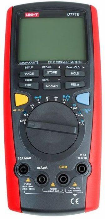 Профессиональный мультиметр Unit UT71E900033UT71E это профессиональный мультиметр с автоматическим выбором диапазона измерений и измерением истинных среднеквадратических значений (TRUE RMS).Диапазоны измерений- Постоянное напряжение: 400 мВ ~ 1000 В.- Переменное напряжение: 4 В ~ 1000 В.- Постоянный ток: 400 мкА ~ 10 А.- Переменный ток: 400 мкА ~ 10 А.- Частота переменного тока: до 100 кГц.- Сопротивление: 400 Ом ~ 40 МОм.- Емкость: 40 нФ ~ 40 мФ.- Частота: 40 Гц ~ 400 МГц.- Коэффициент заполнения (скважность): 10% ~ 90%.- Температура: -40°C ~ +1000°C / -40°F ~ +1832°F.- Токовая петля 4 ~ 20 мА: 0% ~ 100%.- Измерение потребляемой мощности (адаптер в комплекте).Основные рабочие функции- Разрядность дисплея - до 40000, подсветка дисплея (2 уровня яркости).- Индикация режима измерения на дисплее.- Аналоговая шкала.- Проверка диодов.- Прозвонка межсоединений со звуковым сигналом.- Сохранение показаний (HOLD) и пиковых значений.- Сохранение до 100 значений в памяти прибора с возможностью просмотра.- Режим относительных измерений и измерения минимальных / максимальных значений.- Измерение истинных среднеквадратических значений (TRUE RMS).- Измерение переменного тока с постоянной составляющей.- Автоматическая калибровка.- Индикация разряда батареи.- Автоматическое отключение.- Порт USB (кабель и ПО для компьютера в комплекте).- Питание: 9 В (6F22 Крона).