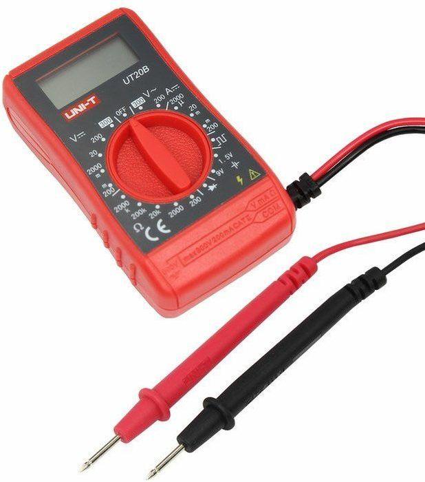 Портативный мультиметр Unit UT20B13-2051Мульти?метр —электроизмерительный прибор который включает в себя несколько функций и набор измеряемых параметров. Прибор UT20B измеряет постоянное и переменное напряжение, сопротивление и ток в цепи а так же с его помощью можно тестировать батарейки. UT20B это портативный (карманный) мультиметр но, несмотря на это, его функционал и пределы измерений выгодно выделяют на фоне остальных мультиметров. Кроме того прибор обладает высоким классом точности измерений. Инженеры старались сделать прибор максимально удобным для использования даже одной рукой, но несмотря на это у прибора усиленный поворотный регулятор, благодаря которому исключается возможность случайного нажатия. Еще одной отличительной особенностью данного прибора является функция генерирования прямоугольных сигналов (меандр), эта функция нужна для измерений и преобразований сигнала и в других областях. Прибор изготовлен из высококачественных материалов. Калибровка и тестирование приборов произведено под контролем компании REXANT INTERNATIONAL. UT20B снабжен подставкой, которая позволяет разместить прибор на любой плоской поверхности.Характеристики:Постоянное напряжение: 200мВ/2000мВ/20В/200В/300В (1,5%+2)Переменное напряжение: 200В/300В (2,5%+15)Постоянный ток: 2000мА/20мА/200мА (2,5%+10)Сопротивление: 200Ом/2000Ом/20кОм/20МОм (2,5%+5)3х разрядный дисплейРучной выбор предела измеренийТест батареек: 1,5В/9ВТестирование диодовГенератор прямоугольных сигналовИндикатор разряда батареиИмпеданс: около 10МОмРазмер (мм): 95*52*26Тип батареи: 9В КронаВес: 125г