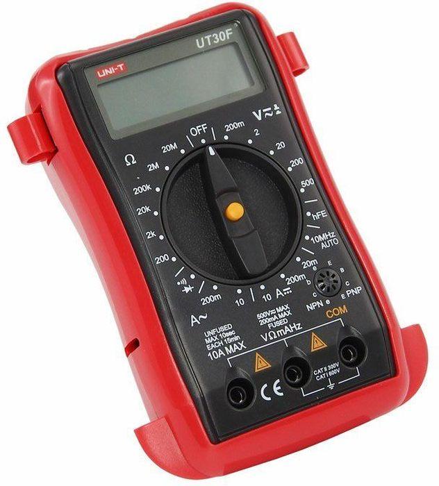Портативный мультиметр Unit UT30F13-1004Мульти?метр —электроизмерительный прибор который включает в себя несколько функций и набор измеряемых параметров. Все приборы серии UT-30 измеряют напряжение, сопротивление и ток в цепи. Прибор UT30F является портативным мультиметром, компактные размеры позволяют всегда носить его с собой. Но, несмотря на малые размеры, данный мультиметр обладает широким функционалом и это выгодно отличает его от других. С помощью данного мультиметра можно измерить постоянное и переменное напряжение, постоянный и переменный ток, сопротивление и частоту. Инженеры старались сделать прибор максимально удобным для использования. Выбор измеряемых величин и пределов измерений производиться с помощью усиленного поворотного регулятора, благодаря которому исключается возможность случайного нажатия. UT30F оснащен функцией Data hold, и зафиксировав результат измерений, вы в любое время сможете считать полученный значение. Дисплей прибора оснащен подсветкой, которая позволяет проводить измерения даже в слабоосвещенных местах. Прибор изготовлен из высококачественных материалов и комплектуется защитным чехлом, который позволит избежать повреждений прибора от падений и царапин. Мультиметр снабжен подставкой, которая позволяет разместить прибор на любой ровной поверхности. Калибровка и тестирование приборов произведено под контролем компании REXANT INTERNATIONAL. Характеристики:Постоянное напряжение: 200мВ/2000мВ/20В/200В/500В (0,5%+2)Переменное напряжение: 200мВ/2В/20В/200В/500В (1 %+3)Постоянный ток: 20µА/200мА/10А (1%+2)Переменный ток: 200мА/10А (1,8%+2)Сопротивление: 200Ом/2000Ом/20кОм/200кОм/2МОм/20МОм (0,8%+2)Частота: 2кГц-20мГц (0,1%+3)3х разрядный дисплейРучной выбор предела измеренийТестирование диодовТестирование транзисторовРежим удержания измерений Data holdИндикатор разряда батареиПрозвонка целостности цепиИмпеданс: около 10МОмРазмер (мм): 130*73,5*35Тип батареи: 9В КронаВес: 156г