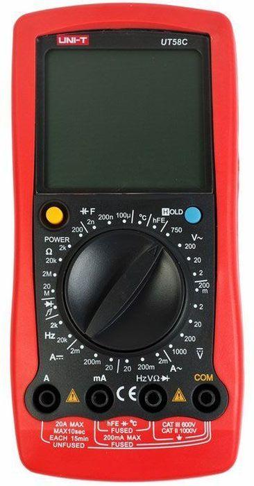 Универсальный мультиметр UT 58C13-1023UT58C- это профессиональный мультиметр с современный и эргономичным дизайном. Предназначен прибор, для измерений постоянного и переменного напряжения, сопротивления, постоянного и переменного тока. Кроме того он имеет функции измерения электрической емкости, частоты температуры, а так же с его помощью вы сможете тестировать диоды и проводить прозвонку целостности цепи. Данный прибор обладает высоким классом точности показаний. Дисплей прибора оснащен подсветкой, которая позволяет проводить измерения даже в слабоосвещенных местах. Широкий функционал мультиметра UT50C позволяет обходиться без других вспомогательных устройств. Прибор оснащен функцией Data hold, и зафиксировав результат измерений, вы в любое время сможете считать полученный значение. Прибор изготовлен из высококачественных материалов. Калибровка и тестирование приборов произведено под контролем компании REXANT INTERNATIONAL. Инженеры старались сделать прибор максимально удобным для использования, и сужение в нижней области корпуса позволяет удобнее располагать прибор в одной руке, а шероховатость корпуса предотвращает выскальзывание. Все переключения удобно производить даже одной рукой но несмотря на это у прибора усиленный поворотный регулятор, благодаря которому исключается возможность случайного нажатия.Характеристики:Постоянное напряжение: 200мВ/2В/20В/200В/1000В: ± (0. 5% + 1)Переменное напряжение: 2В/20В/200В/750В: ±(0.8%+3)Постоянный ток: 20?a / 2 мА / 20мA / 200 мА / 20А (0,8%+1) Переменный ток: 2 мА / 200 мА / 20А (1%+3) Сопротивление: 200 Oм/2kOм/20kOм/20мOм (0,8%+1) Емкость: 2нФ/200нФ/100мФ (4%+3) Частота (Гц): 2 кГц / 20 кГц ± (1. 5% + 5)Температура: -40°C ~ +1000°C / -40°F ~ +1832°F (1%+4)Дисплей: 2000 Ручная установка диапазона измерений Тестирование диодов Авто выключение Режим удержания измерений Data hold Прозвонка целостности цепиИндикатор разряда батареи Импеданс: около 10МОм Размер (мм): 179*88*39Тип батареи: 9В батарея