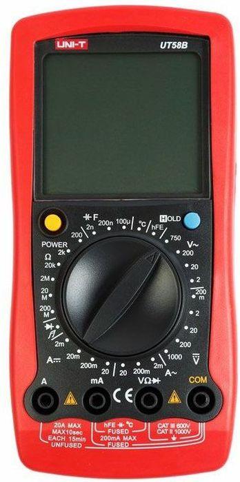 Универсальный мультиметр UT 58D13-1024UT58D- это профессиональный мультиметр с современный и эргономичным дизайном. Предназначен прибор, для измерений постоянного и переменного напряжения, сопротивления, постоянного и переменного тока. Кроме того он имеет функцию измерения электрической емкости, а так же с его помощью вы сможете тестировать диоды и проводить прозвонку целостности цепи. Мультиметр 58D может измерять индуктивность до 20 генри, что не часто можно встретить в этом классе мультиметров. Данный прибор обладает высоким классом точности показаний. Дисплей прибора оснащен подсветкой, которая позволяет проводить измерения даже в слабоосвещенных местах. Широкий функционал мультиметра UT50D позволяет обходиться без других вспомогательных устройств. Прибор оснащен функцией Data hold, и зафиксировав результат измерений, вы в любое время сможете считать полученный значение. Прибор изготовлен из высококачественных материалов. Калибровка и тестирование приборов произведено под контролем компании REXANT INTERNATIONAL. Инженеры старались сделать прибор максимально удобным для использования, и сужение в нижней области корпуса позволяет удобнее располагать прибор в одной руке, а шероховатость корпуса предотвращает выскальзывание. Все переключения удобно производить даже одной рукой но несмотря на это у прибора усиленный поворотный регулятор, благодаря которому исключается возможность случайного нажатия.Характеристики:Постоянное напряжение: 200мВ20В / 200В / 1000В: ± (0. 5% + 1)Переменное напряжение: 2В / 200В / 1000В: ±(0.8%+3)Постоянный ток: 2 мА / 20мA / 20А (0,8%+1) Переменный ток:2 мА / 20мA / 20А (1%+3) Сопротивление: 200 Oм/2kOм/20kOм/2мOм/20мOм (0,8%+1) Емкость: 20нФ/200нФ/2мФ/100мФ ± (2. 5% + 5) Индуктивность: 2мГ/20мГ/200мГ/20Г ±(2%+10) Дисплей: 2000 Ручная установка диапазона измерений Тестирование диодов Авто выключение Режим удержания измерений Data hold Прозвонка целостности цепиИндикатор разряда батареи Импеданс: около 10МОм Размер (мм): 179*88*39Тип батаре