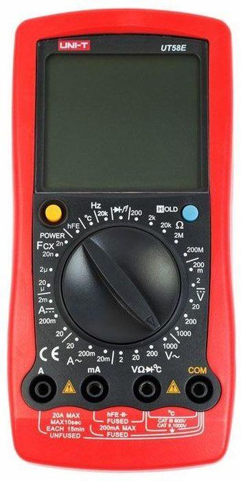 Универсальный мультиметр UT 58E13-1025UT58E- это профессиональный мультиметр с современный и эргономичным дизайном. Выделяется из серии приборово UT 58 разрешением дисплея 4 с половиной разряда и самой низкой базовой погрешностью, что делает его наиболее точным. У всех остальных мультиметров этой серии разрешение дисплея составляет три с половиной разряда. Предназначен прибор, для измерений постоянного и переменного напряжения, сопротивления, постоянного и переменного тока. Кроме того он имеет функции измерения электрической емкости, частоты и температуры, а так же с его помощью вы сможете тестировать диоды и проводить прозвонку целостности цепи. Данный прибор обладает высоким классом точности показаний. Дисплей прибора оснащен подсветкой, которая позволяет проводить измерения даже в слабоосвещенных местах. Широкий функционал мультиметра UT50E позволяет обходиться без других вспомогательных устройств. Прибор оснащен функцией Data hold, и зафиксировав результат измерений, вы в любое время сможете считать полученный значение. Прибор изготовлен из высококачественных материалов. Калибровка и тестирование приборов произведено под контролем компании REXANT INTERNATIONAL. Инженеры старались сделать прибор максимально удобным для использования, и сужение в нижней области корпуса позволяет удобнее располагать прибор в одной руке, а шероховатость корпуса предотвращает выскальзывание. Все переключения удобно производить даже одной рукой но несмотря на это у прибора усиленный поворотный регулятор, благодаря которому исключается возможность случайного нажатия.Характеристики:Постоянное напряжение: 200мВ / 2В / 20В / 200В / 1000В: ± (0. 05% + 3)Переменное напряжение: 2В / 20В / 200В / 1000В: ± (0. 5% + 10)Постоянный ток: 20?a / 2 мА / 20мA / 200 мА / 20А ± (0. 5% + 5)) Переменный ток: 2 мА / 200 мА / 20А ± (0. 8% + 10)Сопротивление: 200 Oм/2kOм/20kOм/2мOм/200мOм ± (0. 5% + 10)Емкость: 2нФ/20нФ/2мФ/20 мкФ ± (3% + 4)Температура: -40°C ~ +1000°C ± (1% + 30)Частота: 20 кГц ± (1. 5% + 