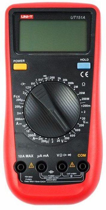 Универсальный мультиметр Unit UT151A13-1026Мульти?метр —электроизмерительный прибор который включает в себя несколько функций и набор измеряемых параметров. Все приборы серии UT-151 измеряют напряжение, сопротивление и ток в цепи. Прибор UT-151A является универсальным мультиметром, компактные размеры позволяют всегда носить его с собой. Но, несмотря на малые размеры, данный мультиметр обладает широким функционалом и это выгодно отличает его от других. С его помощью вы сможете измерить постоянное и переменное напряжение, ток, сопротивление, электрическую емкость, температуру и даже частоту. А так же с помощью данного прибора можно проводить тестирование диодов, батареек и осуществлять прозвонку целостности цепи. Инженеры старались сделать прибор максимально удобным для использования. Выбор измеряемых величин и пределов измерений производиться с помощью усиленного поворотного регулятора, благодаря которому исключается возможность случайного нажатия. Мультиметр UT-151A оснащен функцией Data hold, и зафиксировав результат измерений, вы в любое время сможете считать полученный значение. Дисплей прибора оснащен подсветкой, которая позволяет проводить измерения даже в слабоосвещенных местах. Прибор изготовлен из высококачественных материалов и комплектуется защитным чехлом, который позволит избежать повреждений прибора от падений и царапин. Мультиметр снабжен подставкой, которая позволяет разместить прибор на любой плоской поверхности. Калибровка и тестирование приборов произведено под контролем компании REXANT INTERNATIONAL. Характеристики:- Постоянное напряжение: 200 мВ / 2 В / 20 В / 200 В / 1000 В.- Переменное напряжение: 2 В / 20 В / 200 В / 750 В.- Постоянный ток: 200 мкА / 2 мА / 200 мА / 20 А.- Переменный ток: 200 мкА / 2 мА / 200 мА / 20 А.- Сопротивление: 200 Ом / 2 кОм / 20 кОм / 200 кОм / 2 МОм / 20 МОм / 200 МОм.- Емкость: 20 мкФ / 200 мкФ.Основные рабочие функции- Разрядность дисплея - до 2000.- Проверка батарей 1.5 В / 9 В / 12 В.- Проверка диодов.- Прозвонк