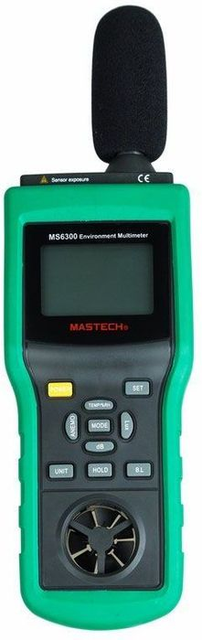 Многофункциональный тестер окружающей среды Mastech MS6300V-1 синийМногофункциональный тестер окружающей среды Mastech MS6300 представляет собой цифровой многофункциональный измеритель параметров окружающей среды, совмещающий в себе функции измерения уровня звука, освещенности, относительной влажности, температуры и давления. Прибор является портативным профессиональным измерительным инструментом с большим жидкокристаллическим дисплеем с подсветкой для удобства считывания данных. Многофункциональный тестер окружающей среды Mastech MS6300 обладает множеством функций для удобства в работе такими как, функцией автоматического и ручного выбора предела измерений, функцией фиксации последних измерений, функцией измерения максимального (MAX), минимального (MIN), среднего (AVG) и разностного (DIF=MAX-MIN) значений. Тестер окружающей среды Mastech MS6300 имеют функцию автовыключение питания: для увеличения срока службы батареи, если в течение 30 минут не производились манипуляции с органами управления прибора, происходит автоматическое выключение питания.ХАРАКТЕРИСТИКИ:· Подсветка ЖК-дисплея· Автоматический и ручной выбор диапазона · Выбор показаний в футах / мин, м / с, км / час или узлы · MAX / MIN / AVG / MAX-MIN · Автоматическое отключение питания Спецификация: · Температура: -10 ? ~ 60 ? ± 1,5 ? (14 ? ~ 140 ? ± 2,7 ?) · Влажность: 0% ~ 100% относительной влажности ± 3% относительной влажности (25 ?) · Освещенность: 0 ~ 2000Lux ± 5% (? 1), 2000 ~ 20000Lux ± 5% (? 10), 20000 ~ 50000Lux ± 5% (? 100) · Скорость ветра: 0,5 ~ 20 м / с (1,8 ~ 72 км / ч, 1,6 ~ 65,7 м / с, 0,9 ~ 38.9knots) ± 3% · Поток воздуха: 0 ~ 999900 CMM (0 ~ 999900 CFM) 3% · Уровень шума: 30 ~ 130 дБ (А) ± 1,5 дБ 35 ~ 130 дБ (С) ± 1,5 дБ · Размеры: 280 х 89 х 50 мм · Вес: 430 г (включая батарею)Комплект поставки:· MS6300 · Штатив · Батарея 9В · Футляр для хранения