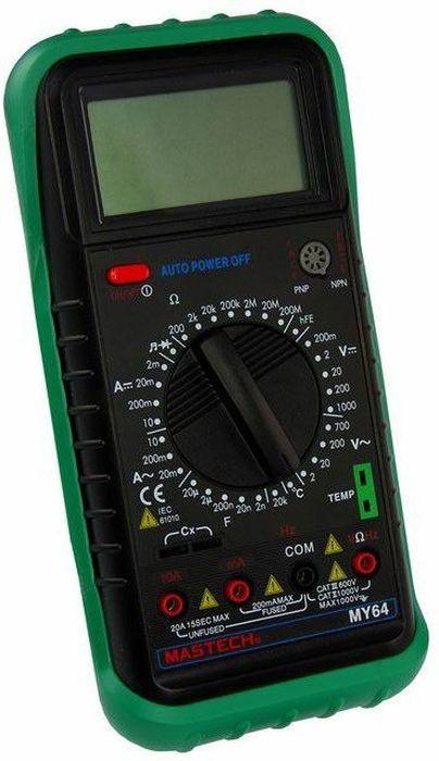 Универсальный мультиметр Mastech MY6413-2005Мульти?метр —электроизмерительный прибор который включает в себя несколько функций и набор измеряемых параметров. Все приборы серии MY64 измеряют постоянное и переменное напряжение, постоянный и переменный ток, сопротивление в цепи, емкость, температуру и даже частоту. А так же с помощью данного прибора можно проводить тестирование диодов, прозвонку целостности цепи и измерение коэффициента усиления транзисторов. Прибор имеет функцию удержания результата измерений Data hold, для тех случаев, когда измерения проводятся в труднодоступных местах и не всегда есть возможность взглянуть на экран. Прибор MY64 является портативным мультиметром, компактные размеры позволяют всегда носить его с собой. Но, несмотря на малые размеры, данный мультиметр обладает широким функционалом и это выгодно отличает его от других. Инженеры старались сделать прибор максимально удобным для использования. Выбор измеряемых величин и пределов измерений производиться с помощью усиленного поворотного регулятора, благодаря которому исключается возможность случайного нажатия. Прибор изготовлен из высококачественных материалов, калибровка и тестирование приборов произведено под контролем компании REXANT INTERNATIONAL.Характеристики:Постоянное напряжение: 200mВ/2В/20м/200В (±0,5%+3), 1000В (±0,8%+3)Переменное напряжение: 2В/20м/200В (±0,8%+5), 750В (±1,2%+3)Постоянный ток: 2мА/20мА/200мА (±1,5%+1), 10A (±2,0%+5)Переменный ток: 2мА/20мА/200мА (±1,8%+5), 10A (±3,0%+5)Сопротивление: 200Ом/2КОм/20КОм/200КОм/2Мом (±0,8% +3), 20МОм (±1,0% +5), 200МОм (±6,0%+10) Емкость: 2нФ/20нФ/200нФ/2мкФ (±4,0%+3), 100мкФ (±6,0%+10)Частота: 20кГц (±1,5%+5)Температура: -20?~ 1000? (±2,0%+2)3х разрядный дисплейТестирование диодов Прозвонка целостности цепиКоэффициент усиления транзисторов h21: до 1000Генератор прямоугольного сигнала (меандр)Ручной выбор предела измеренийРазмер (мм): 195*95*55Тип батареи: 9В КронаВес: 366г