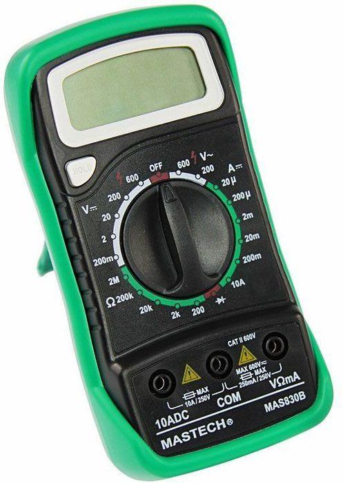 Портативный мультиметр Mastech MAS83013-2011Мульти?метр —электроизмерительный прибор который включает в себя несколько функций и набор измеряемых параметров. Все приборы серии MAS830 измеряют постоянное и переменное напряжение, постоянный ток и сопротивление в цепи. А так же с помощью данного прибора можно проводить тестирование диодов и прозвонку целостности цепи. Прибор MAS830 является портативным мультиметром, компактные размеры позволяют всегда носить его с собой. Но, несмотря на малые размеры, данный мультиметр обладает широким функционалом и это выгодно отличает его от других. Прибор имеет функцию удержания результата измерений Data hold, для тех случаев, когда измерения проводятся в труднодоступных местах и не всегда есть возможность взглянуть на экран. Инженеры старались сделать прибор максимально удобным для использования. Выбор измеряемых величин и пределов измерений производиться с помощью усиленного поворотного регулятора, благодаря которому исключается возможность случайного нажатия. Прибор изготовлен из высококачественных материалов, калибровка и тестирование приборов произведено под контролем компании REXANT INTERNATIONAL.Характеристики:Постоянное напряжение: 200mВ/2В/20м/200В (±0,5%+3), 600В (±0,8%+5)Переменное напряжение: 200В/600В (±1,2%+10)Постоянный ток: 20мкА/200мкА/2мА/20мА/200мА(±1,0%+3), 10A (±3,0%+10)Сопротивление: 200Ом/2КОм/20КОм/200КОм (±0,8%+2), 2МОм (±1,0%+5) 4х разрядный дисплей Ручной выбор предела измеренийТестирование диодовПрозвонка целостности цепиРежим удержания измерений Data holdИмпеданс: <50ОмРазмер (мм): 145*76*40Тип батареи: 9В Крона