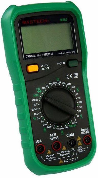 Универсальный мультиметр Mastech MY6213-2019Мульти?метр —электроизмерительный прибор который включает в себя несколько функций и набор измеряемых параметров. Все приборы серии MY62 измеряют постоянное и переменное напряжение, а так же постоянный и переменный ток, сопротивление, емкость в цепи и даже температуру. А так же с помощью данного прибора можно проводить тестирование диодов, прозвонку целостности цепи и измерение коэффициента усиления транзисторов. Таким образом, один прибор сможем заменить сразу несколько устройств одновременно. Прибор MY62 является портативным мультиметром, компактные размеры позволяют всегда носить его с собой. Прибор имеет функцию удержания результата измерений Data hold, для тех случаев, когда измерения проводятся в труднодоступных местах и не всегда есть возможность взглянуть на экран. Инженеры старались сделать прибор максимально удобным для использования. Выбор измеряемых величин и пределов измерений производиться с помощью усиленного поворотного регулятора, благодаря которому исключается возможность случайного нажатия. Прибор изготовлен из высококачественных материалов, калибровка и тестирование приборов произведено под контролем компании REXANT INTERNATIONAL.Характеристики:Постоянное напряжение: 200mВ/2В/20мВ/200В (±0,5%+3), 1000В (±0,8%+3)Переменное напряжение: 200мВ/2В/20В/200В (±0,8%+3), 750В (1,2%+3)Постоянный ток: 2мА/20мА/200мА(±1,5%+1), 10A (±2,0%+5)Переменный ток: 2мА/20мА/200мА(±1,8%+5), 10A (±3,0%+5)Сопротивление: 200Ом/2КОм/20КОм/200Ком/2МОм(±0,8%+3), 20МОм (±1,0%+5), 200МОм (±6,0%+10)Емкость: 2нФ/20нФ/200нФ/2мкФ (±4%+3),100мкФ (±6%+10)Температура: -20°C ~ +1000°C (±2,0%+2)4х разрядный дисплей Ручной выбор предела измерений Тестирование диодовПрозвонка целостности цепиКоэффициент усиления транзисторов(hFE): 0~ 1000Режим удержания измерений Data holdИмпеданс: <50ОмРазмер (мм): 145*73*45Тип батареи: 9В Крона