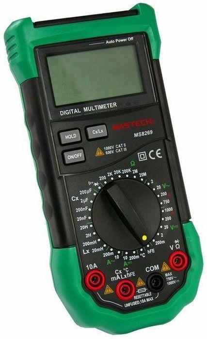 Профессиональный мультиметр Mastech MS826913-2022Мульти?метр —электроизмерительный прибор который включает в себя несколько функций и набор измеряемых параметров. Все приборы серии MS8269 измеряют постоянное и переменное напряжение, а так же постоянный и переменный ток, сопротивление в цепи, емкость, индуктивность и даже температуру. А так же с помощью данного прибора можно проводить тестирование диодов и осуществлять прозвонку целостности цепи. Таким образом, один прибор сможем заменить сразу несколько устройств одновременно. Прибор MS8269 является портативным мультиметром, компактные размеры позволяют всегда носить его с собой. Но, несмотря на размеры, данный мультиметр обладает широким функционалом и это выгодно отличает его от других. Прибор имеет функцию удержания результата измерений Data hold, для тех случаев, когда измерения проводятся в труднодоступных местах и не всегда есть возможность взглянуть на экран. Дисплей прибора оснащен подсветкой, которая позволяет проводить измерения даже в слабоосвещенных местах. Инженеры старались сделать прибор максимально удобным для использования. Выбор измеряемых величин и пределов измерений производиться с помощью усиленного поворотного регулятора, благодаря которому исключается возможность случайного нажатия. Прибор изготовлен из высококачественных материалов, калибровка и тестирование приборов произведено под контролем компании REXANT INTERNATIONAL.Характеристики:Постоянное напряжение: 200mВ/2В/20В/200В/1000В (±0,5%+2)Переменное напряжение: 2В/20В/200В/750В (0,8%+3)Постоянный ток: 200мкА (±1.5 % +1), 10A (±2,0%+5)Переменный ток: 200мкА (±1.8 % +3), 10A (±3,0%+7)Сопротивление: 200Ом/2КОм/20КОм/200Ком/2МОм/20МОм (±0,8%+3)Емкость: 20нФ/200нФ/2мкФ/200мкФ (±4,0%+8)Индуктивность: 20мГн/200/2Гн//20Гн (±3,0%+8) Температура: -20°C ~ +1000°C (±2,0%+2)4х разрядный дисплей Ручной выбор предела измеренийТестирование диодовПрозвонка целостности цепиКоэффициент усиления транзисторов(hFE): 0~ 1000Дисплей с подсветкойРежим удержания из