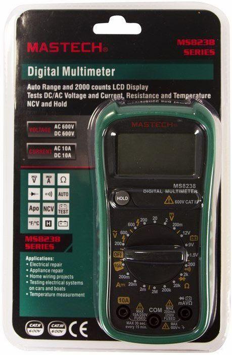 Универсальный мультиметр Mastech MS823813-2026Мульти?метр —электроизмерительный прибор который включает в себя определенный набор измеряемых параметров и функций. Прибор MS8238 представляет собой компактный, удобный измерительный прибор который можно всегда держать под рукой. С помощью данного прибора, можно измерять постоянное и переменное напряжение, постоянный ток и сопротивление. А так же можно проводить тестирование диодов и прозвонку целостности цепи. MS8238 портативный прибор, выполненный из высококачественных материалов с прорезиненным корпусом. Что делает прибор надежным и безопасным в использований. Инженеры старались максимально упростить прибор, и по этому, с ним легко работать даже одной рукой. Кроме того у прибора усиленный переключатель, благодаря которому исключается возможность случайного нажатия. Калибровка и тестирование приборов произведено под контролем компании REXANT INTERNATIONAL.Характеристики:Постоянное напряжение: 200мВ/2В/20В/200В (±0,5%+2), 600В (±0,8%+5) Переменное напряжение: 200В/600В (1,0%+5)Постоянный ток: 200мA (±0,8%+3), 10А (±1,5%+3)Сопротивление: 200Ом/2КОм/20КОм/200КОм/2МОм (±0,8%+4) 4х разрядный дисплей Ручной выбор предела измеренийТестирование диодовПрозвонка целостности цепиИмпеданс: <50ОмРазмер (мм): 188*93*50Тип батареи: 9В Крона