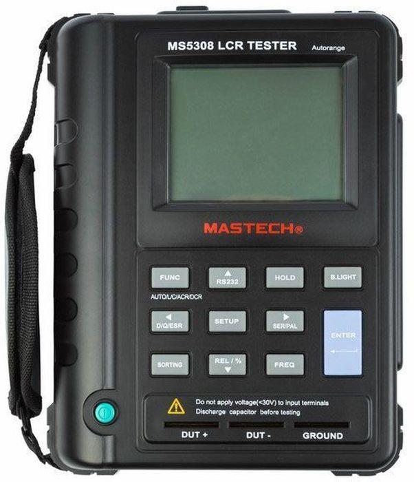 Мостовой высокоточный измеритель Mastech MS530813-3031MS5308 высокоточный портативный измеритель LCR MASTECH — радиоизмерительный прибор, предназначенный для определения параметров полного сопротивления или полной проводимости электрической цепи. Название прибора складывается из измеряемых прибором величин: R — Сопротивление, С — емкость, L — Индуктивность. Иммитанс — обобщающее понятие для полного (комплексного) сопротивления — импеданса и полной (комплексной) проводимости — адмиттанса. Прибор изготовлен из высококачественных материалов. Калибровка и тестирование приборов произведено под контролем компании REXANT INTERNATIONAL. Характеристики:- Индуктивность: 0.001 мкГн ~ 20000 Гн.- Емкость: 0.01 пФ ~ 20000 мкФ.- Сопротивление: 0.001 Ом ~ 200 МОм.- ESR: 0.01 Ом ~ 999.9 Ом.Функциональные возможности- Две шкалы на дисплее: 19999 отсчетов для L, C, R / 1999 отсчетов для D, Q и ESR.- Подсветка дисплея.- Частоты измерения: 100 Гц, 120 Гц, 1 кГц, 10 кГц, 100 кГц.- Измерение параметров: Ls/Lp; Cs/Cp; Rs/Rp; D,Q,ESR, фаза, импеданс.- Автоматическое отключение питания.- Интерфейс USB (ПО и кабель в комплекте).- Питание: 8 х 1.5 В (тип AA) и 1 х 9 В (тип 6F22, 6LR61, Крона).