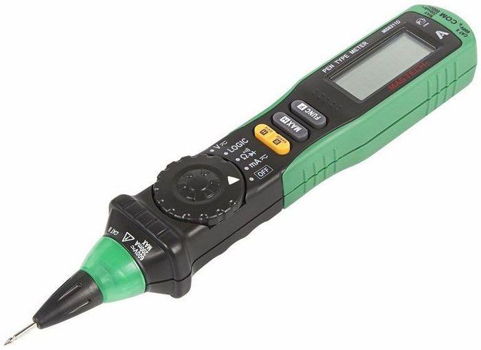 Цифровой мультиметр-пробник Mastech MS8211D13-2045Цифровой мультиметр Mastech MS8211D - карманный прибор, позволяющий измерять постоянное и переменное напряжение, постоянный и переменный ток и сопротивление. Он имеет режим прозвонка, диод-тест. Особенность этого мультиметра заключается в двух функциях - измерение тока с защитой самовосстанавливающимся предохранителем и тест логических уровней. Мультиметр имеет звуковую и световую индикацию. Модель работает от 2 батареек 1.5 В ААА. ХАРАКТЕРИСТИКИМаксимальное значение 1999Измерение постоянного напряжения 200 мВ / 2 В / 20 В / 200 В / 600 В ±(0.7%+2)Измерение переменного напряжения 200 мВ / 2 В / 20 В / 200 В ±(0.8%+3); 600 В ±(1.0%+3) Измерение постоянного тока: 20m/200mA: ±1.5%Измерение переменного тока: 20m/200mA: ±2.0%Измерение сопротивления 200 Ом / 2 кОм / 20 кОм / 200 кОм / 2 МОм / 20 МОм (±1%)Прозвонка цепей на проводимость звуковой сигнал при сопротивлении ниже 50 Ом Тест логических уровней КМОП и ТТЛ (+ двухцветная светодиодная индикация)Tест диодовАвтоматическое отключение питания Удержание данных на дисплее (Data Hold)Защита от перегрузок Источник питания батарея 1,5 В (AAA) x 2Габариты 208 ? 38 ? 29 ммКОМПЛЕКТАЦИЯМультиметр-пробник Mastech MS8211D (1 шт.)Тестовый щуп (1 шт.)Кейс (1 шт.)Батарея AAA (2 шт.)Инструкция по эксплуатации (1 шт.)