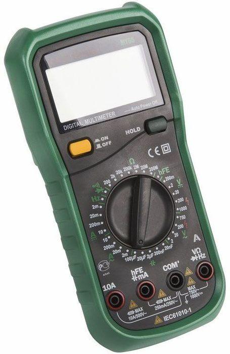 Универсальный мультиметр Mastech MY6513-2052Цифровой мультиметр Mastech MY65 с большим 4?-разрядным ЖК дисплеем обеспечивает высокую точность измерений. Устройство предназначено для определения параметров напряжения, тока, сопротивления, емкости и частоты. Разрядность — 4?. Измерение емкости, частоты. Высокое входное сопротивление не вносит погрешности при измерениях величин. ХАРАКТЕРИСТИКИРазрядность шкалы мультиметра: 19999 отсчетовПостоянное напряжение: 200мВ: ±0.05%, 2мВ/20В/200В: ±0.1%, 1000В: ±0.15%Переменное напряжение: 2В/20В/200В: ±1.0%, 700В: ±1.2%Постоянный ток: 2мА/20мА: ±0.5%, 200mмА: ±0.8%, 10А: ±1.5%Переменный ток: 2м/20мА: ±0.8%, 200мА: ±1.2%, 10А: ±2.5%Сопротивление: 200Ом: ±0.5%, 2Ом/20Ом/200кОм/2МОм: ±0.3%, 20МОм: ±0.5%, 200МОм: ±5.0%Емкость конденсаторов: 2000нФ/20нФ/200нФ/2мкФ/20мкФ: ±4.0%Частота: 20кГц: ±1.5%Коэффициент усиления транзисторов по току: 1 - 1000Прозвонка соединенийTест диодов, транзисторовАвтоматическое отключение питания ~40 минУдержание данных на дисплее (Data Hold) естьИндикация разряда батареи естьИндикация перегрузки «1». естьИсточник питания 9ВГабариты 91 ? 189 ? 31,5 мм Комплект поставки: Мультиметр,Чехол, Инструкция