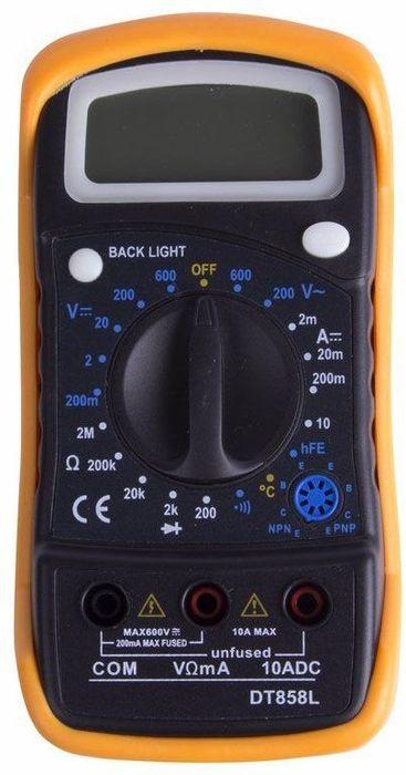 Универсальный мультиметр PROconnect MAS838L(DT858L)13-3022Мульти?метр —электроизмерительный прибор который включает в себя несколько функций и набор измеряемых параметров. Все приборы серии MAS830 измеряют постоянное и переменное напряжение, постоянный ток, сопротивление в цепи и температуру (для модели 838L). А так же с помощью данного прибора можно проводить тестирование диодов и прозвонку целостности цепи. Прибор MAS830L является портативным мультиметром, компактные размеры позволяют всегда носить его с собой. Но, несмотря на малые размеры, данный мультиметр обладает широким функционалом и это выгодно отличает его от других. Инженеры старались сделать прибор максимально удобным для использования. Выбор измеряемых величин и пределов измерений производиться с помощью усиленного поворотного регулятора, благодаря которому исключается возможность случайного нажатия. Прибор изготовлен из высококачественных материалов, калибровка и тестирование приборов произведено под контролем компании REXANT INTERNATIONAL.Характеристики:Постоянное напряжение: 200mВ/2В (±0,5%+3), 20В/200В (±0,8%+5), 600В (±1%+5)Переменное напряжение: 200В/600В (±2%+10)Постоянный ток: 200мкА/2мА/20мА (±1,8%+2), 200мА(±2,0%+2), 10A (±2,0%+10)Сопротивление: 200Ом (±1,0%+10), 2КОм/20КОм/200КОм/2МОм (±1,0%+4) Тестирование диодовПрозвонка целостности цепиИзмерение температурыРежим DATA HOLD Подсветка дисплея3,5х разрядный дисплей Размер (мм): 135*67*33ммТип батареи: Rexant 9В Крона (в комплекте)Противоударный чехол в комплектеВес: 145г (включая батарею)