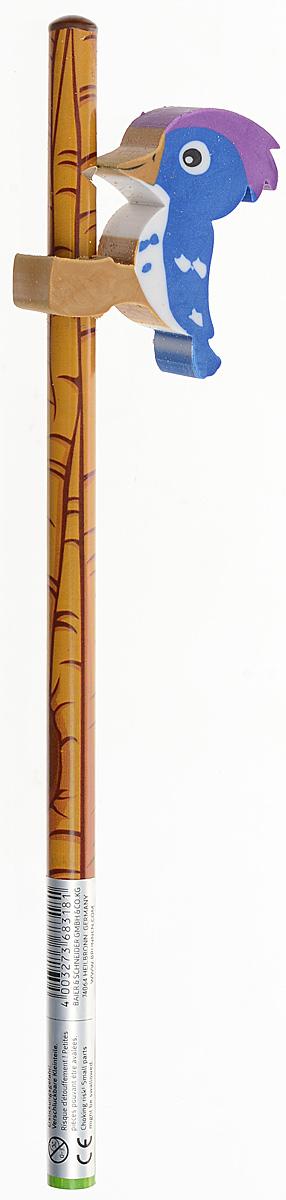 Brunnen Карандаш чернографитный Дятел с ластиком цвет коричневый синий27359 BLN_коричневый/синийЧернографитный карандаш Brunnen Дятел будет незаменим и для деток, которые только начинают рисовать, и для школьников. Его стильный круглый корпус сделан из натурального дерева с блестящим покрытием. Сверху имеется оригинальный ластик в виде дятла. Карандаш имеет очень прочный грифель самого высокого качества, который не крошится и не ломается при заточке. Такой забавный письменный аксессуар идеально лежит в руке и подарит массу удовольствия во время письма или рисования.