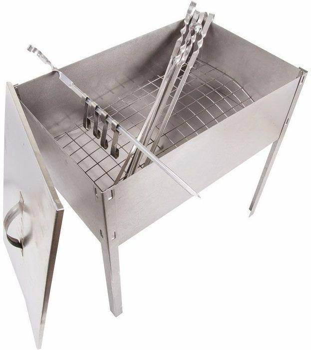 Мангал-коптильня Сокол  Эконом , сборная, с шестью шампурами в наборе (6 х 410 мм). 62-0012 - Посуда для приготовления