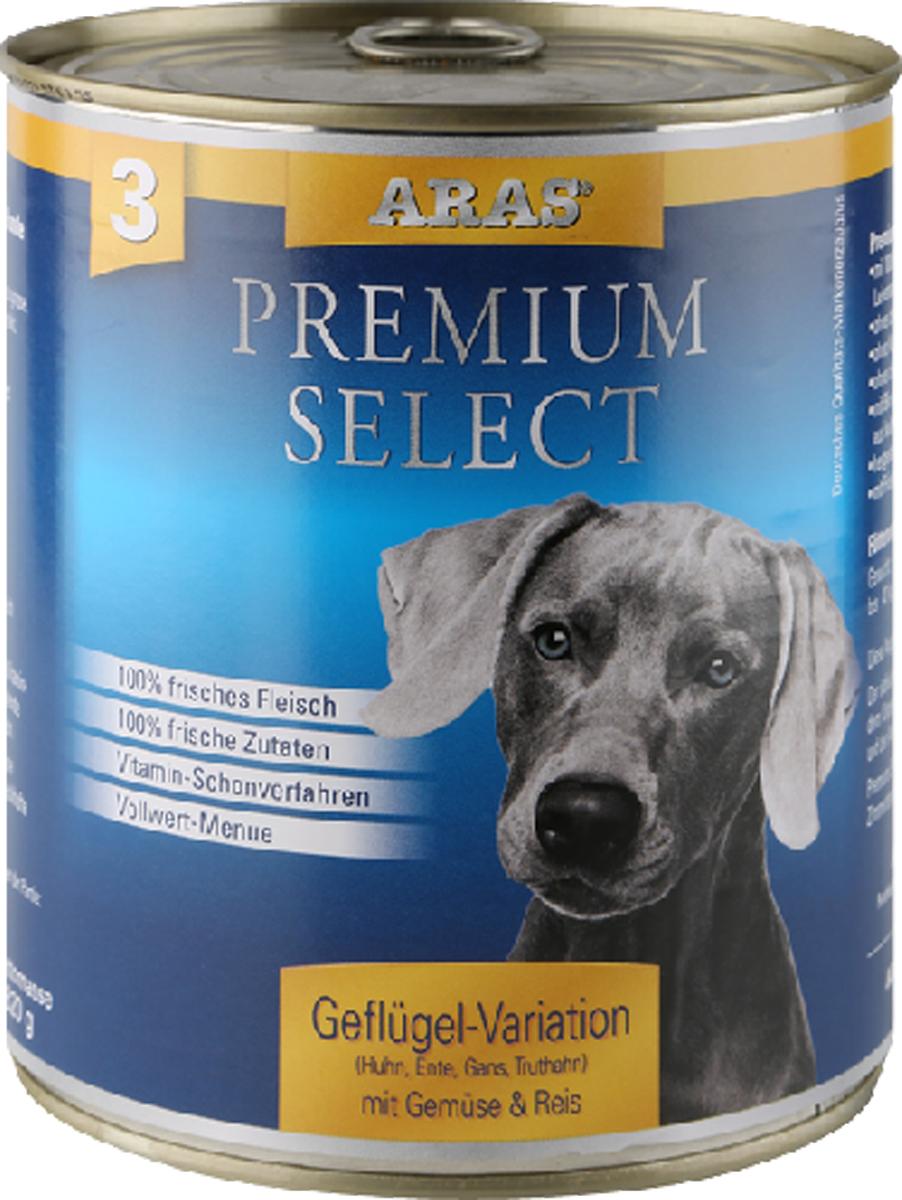 Консервы Aras Premium Select, для собак, с домашней птицей, овощами и рисом, 820 г101208Повседневный консервированный корм для собак всех пород и всех возрастов. Корм произведен в Германии из продуктов, пригодных в пищу человека по специальной технологии схожей с технологией Sous Vide. Благодаря уникальной технологии, схожей с технологий Souse Vide, при изготовлении сохраняются все натуральные витамины и минералы. Это достигается благодаря бережной обработке всех ингредиентов при температуре менее 80 градусов. Такая бережная обработка продуктов не стерилизует продуктовые компоненты. Благодаря этому корма не нуждаются ни в каких дополнительных вкусовых добавках и сохраняют все необходимые полезные вещества.При производстве кормов используются исключительно свежие натуральные продукты: мясо, овощи и зерновые; Приготовлено из 100% свежего мяса, пригодного в пищу человеку; Содержит натуральные витамины, аминокислоты, минеральные вещества и микроэлементы; С экстрактом масла зародышей зерна пшеницы холодного отжима (Bio-Dura); Без химических красителей, усилителей вкуса, искусственных консервантов и химических добавок; Без ГМО; Без мясокостной муки; Без сои; состав: свежее мясо печень, сердце, курицы, гуся, утки, индейки 92%, овощи (морковь, лук-порей) 4%, рис 3%, экстракт зародышей пшеницы холодного отжима 1%пищевая ценность: Белки 12,8%, Жиры 6,2%, Зола 2,2%, Клетчатка 0,4%, Влажность 77,6%
