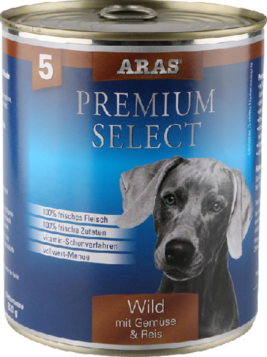 Консервы для собак Aras Premium Select, с дичью, овощами и рисом, 820 г00-00000459Консервы для собак Aras Premium Select - повседневный консервированный корм для собак всех пород и всех возрастов. Бережная обработка отборных ингредиентов высочайшего качества, используемых при изготовлении корма, обеспечивает вашего питомца здоровым и сбалансированным питанием. Благодаря содержанию высококачественного белка, полученного из свежего мяса, вашему питомцу требуется меньшее количества корма, чем кормов других марок. Особенности корма: - 80% содержание мяса- Изготовлен из 100% свежего мяса, пригодного в пищу человеку- Без химических красителей и усилителей вкуса- Без консервантов- Без химических добавок- Из 100% свежих ингредиентов- С экстрактом масла зародышей пшеницы холодного отжима- Сохранение натуральных витаминов в процессе изготовления- Гарантия свежестиСостав: свежее мясо дичи и субпродукты 92%, овощи (морковь, лук-порей) 4%, рис 3%, экстракт зародышей пшеницы холодного отжима 1%. Пищевая ценность: белки 12,8%, жиры 6,0%, зола 2,1%, клетчатка 0,4%, влажность 77,4%. Товар сертифицирован.