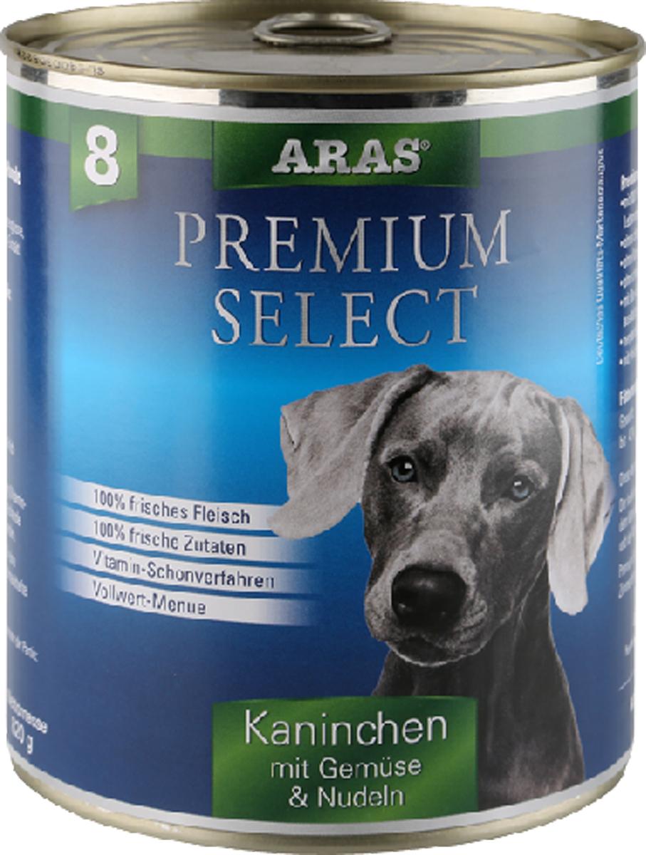 Консервы для собак Aras Premium Select, с кроликом, овощами и лапшой, 820 г21502Консервы для собак Aras Premium Select - повседневный консервированный корм для собак всех пород и всех возрастов. Бережная обработка отборных ингредиентов высочайшего качества, используемых при изготовлении корма, обеспечивает вашего питомца здоровым и сбалансированным питанием. Благодаря содержанию высококачественного белка, полученного из свежего мяса, вашему питомцу требуется меньшее количества корма, чем кормов других марок. Особенности корма: - 80% содержание мяса- Изготовлен из 100% свежего мяса, пригодного в пищу человеку- Без химических красителей и усилителей вкуса- Без консервантов- Без химических добавок- Из 100% свежих ингредиентов- С экстрактом масла зародышей пшеницы холодного отжима- Сохранение натуральных витаминов в процессе изготовления- Гарантия свежестиСостав: свежее мясо кролика и субпродукты 92%, овощи (морковь, лук-порей) 4%, лапша 3%, экстракт зародышей пшеницы холодного отжима 1%. Пищевая ценность: белки 12,6%, жиры 6,5%, зола 1,9%, клетчатка 0,7%, влажность 77,8%. Товар сертифицирован.