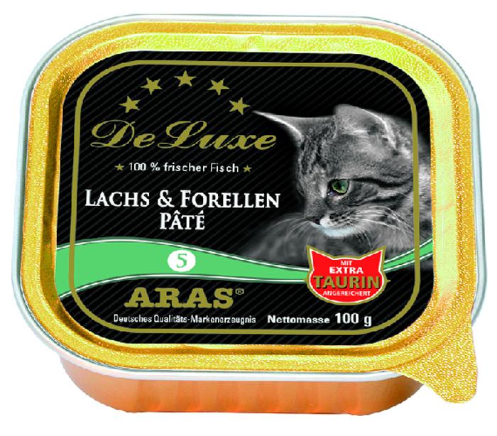 Консервы для кошек Aras Premium DeLuxe, паштет с семгой и форелью, 100 г консервы для кошек aras premium deluxe паштет с домашней птицей 100 г