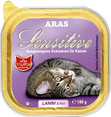 Консервы Aras Sensitive для кошек с чувствительным пищеварением, с бараниной и рисом, 100 г00000000077Консервы Aras Sensitive - натуральное диетическое питание пониженной калорийности для кошек всех пород с чувствительным пищеварением, пожилых или с избыточным весом. Также идеально подходит для кошек с проблемами пищеварения и аллергиями. Особенности корма: - Приготовлен из стопроцентного мяса индейки или баранины- Без химических красителей, усилителей вкуса- Без искусственных консервантов- Без химических добавок- Со стопроцентным рисом - единственным источником углеводов- Исключительно из свежих ингредиентов- При производстве максимально сохранены витамины- Гарантия свежести- Дополнительная порция таурина- Диетическое питание пониженной калорийностиСостав: свежее мясо баранины и субпродукты 98%, рис 1%, минералы 1%, таурин 150мг/кг. Пищевая ценность: белки 8,1%, жиры 3,9%, зола 2,5%, клетчатка 0,3%, влажность 79,9%. Товар сертифицирован.