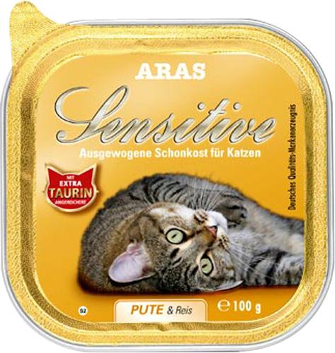 Консервы Aras Sensitive для кошек с чувствительным пищеварением, с индейкой и рисом, 100 г5649110Консервы Aras Sensitive - натуральное диетическое питание пониженной калорийности для кошек всех пород с чувствительным пищеварением, пожилых или с избыточным весом. Также идеально подходит для кошек с проблемами пищеварения и аллергиями. Особенности корма: - Приготовлен из стопроцентного мяса индейки или баранины- Без химических красителей, усилителей вкуса- Без искусственных консервантов- Без химических добавок- Со стопроцентным рисом - единственным источником углеводов- Исключительно из свежих ингредиентов- При производстве максимально сохранены витамины- Гарантия свежести- Дополнительная порция таурина- Диетическое питание пониженной калорийностиСостав: свежее мясо индейки и субпродукты 98%, рис 1%, минералы 1%, таурин 150 мг/кг. Пищевая ценность: белки 8,1%, жиры 3,9%, зола 2,5%, клетчатка 0,3%, влажность 79,9%. Товар сертифицирован.