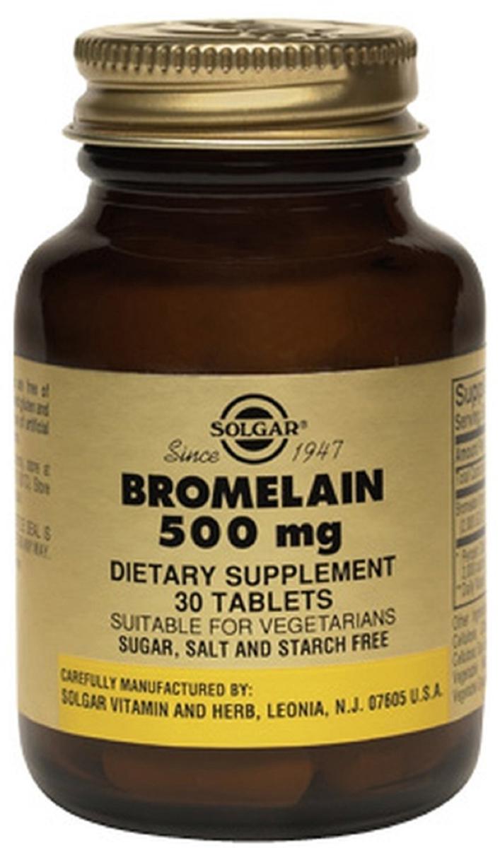 Солгар Бромелайн таблетки 500 мг №30209632Бромелайн – это пищеварительный фермент, выделенный из ананаса. Бромелайн 500 мг способствует пищеварению, расщеплению белковой пищи и усвоению ее организмом, а также рекомендуется в качестве дополнительной терапии для уменьшения воспаления, отека и ускорения восстановления тканей при спортивных травмах, ушибах, растяжениях. Сфера применения: ГастроэнтерологияПищеварительные ферменты
