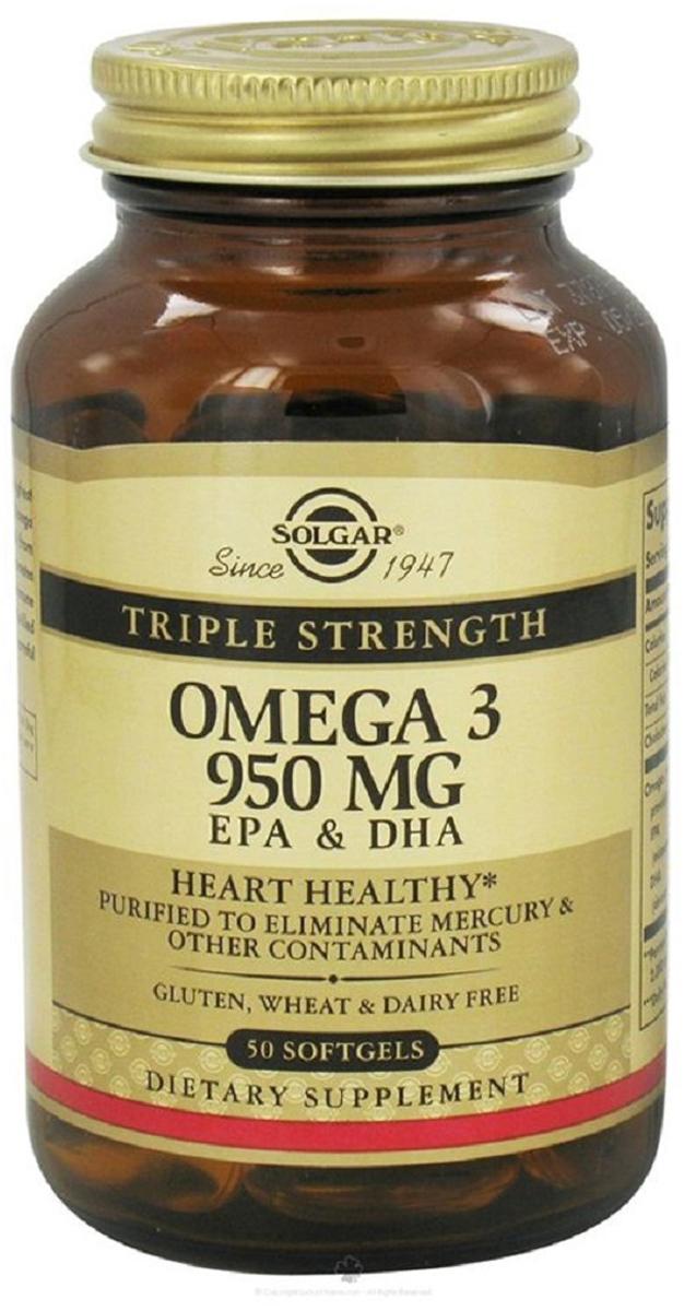 Солгар Тройная Омега-3 950 мг ЭПК и ДГК капсулы №502218Жирные кислоты Омега-3 способствуют защите зрения, улучшению работы головного мозга, профилактике сердечно-сосудистых заболеваний, снижению уровня холестерина Сфера применения: ВитаминологияОмега