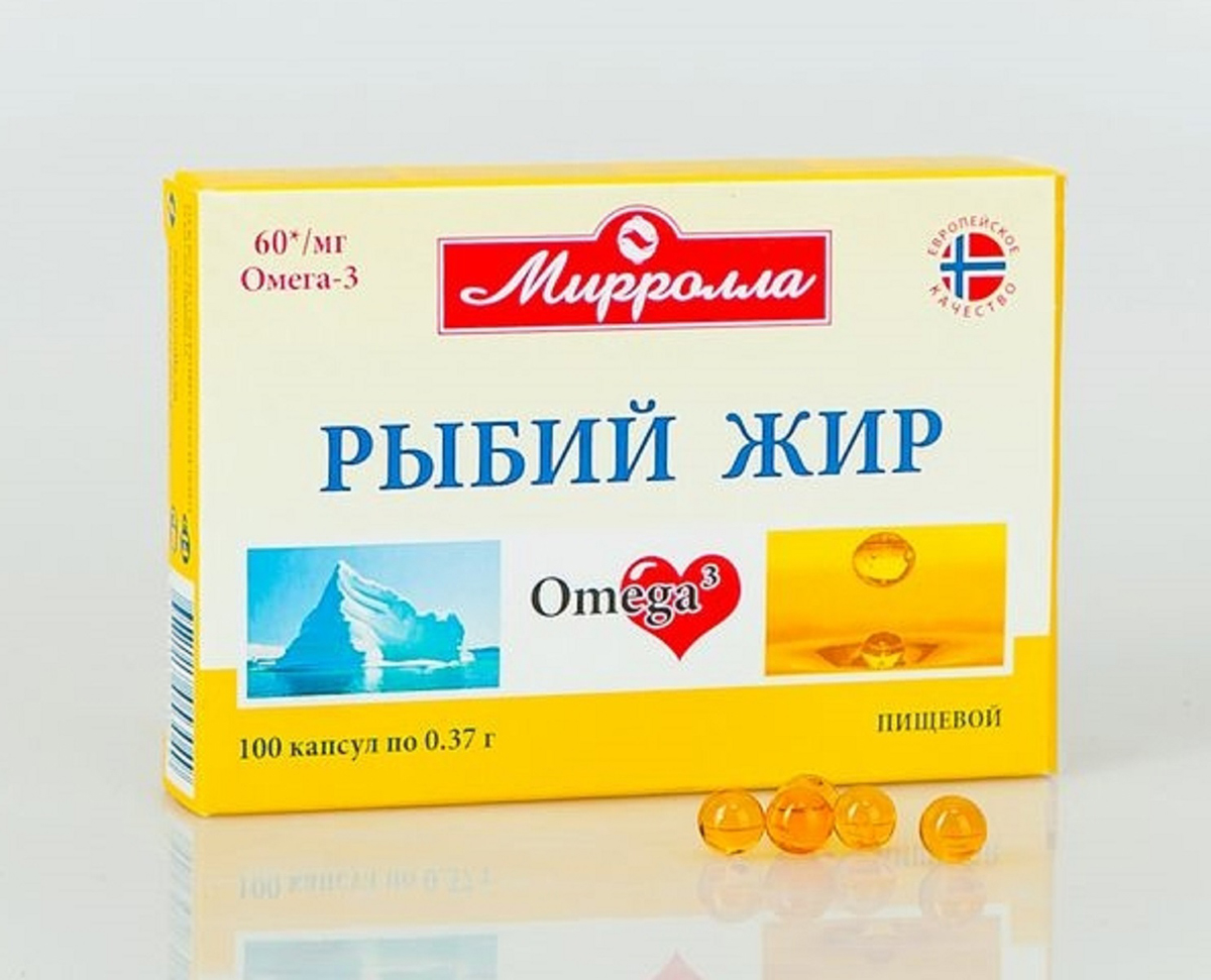 Рыбий жир Миролла пищевой капсулы 0,37г №1002218Рыбий жир в капсулах Мирролла – исключительный в своей категории. Производимый из жира норвежского лосося, он является источником Омега-3 кислот (в том числе эйкозапентаеновой кислоты, докозагексаеновой кислоты) и отвечает европейскому стандарту качества и безопасности. Сфера применения: КардиологияОмега