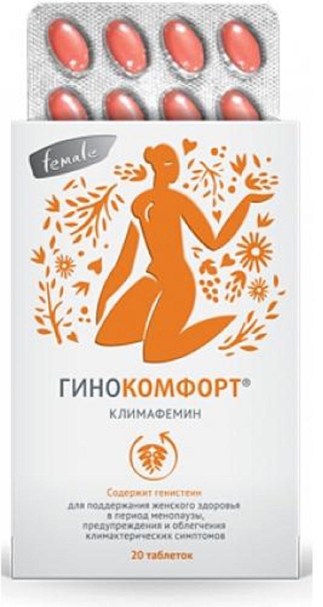 Гинокомфорт Климафемин таб №20211699Источник генистеина, полифенолов, дополнительный источник витамина Е, коэнзима Q10, способствующих коррекции проявлений климакса и предупреждению возрастных изменений.Read more at http://www.ginokomfort.ru/about/ginokomfort_klimafemin/#cJe7bGuTIFvhmkAx.99 Сфера применения: Акушерство и гинекологияПротивоклимактерическое