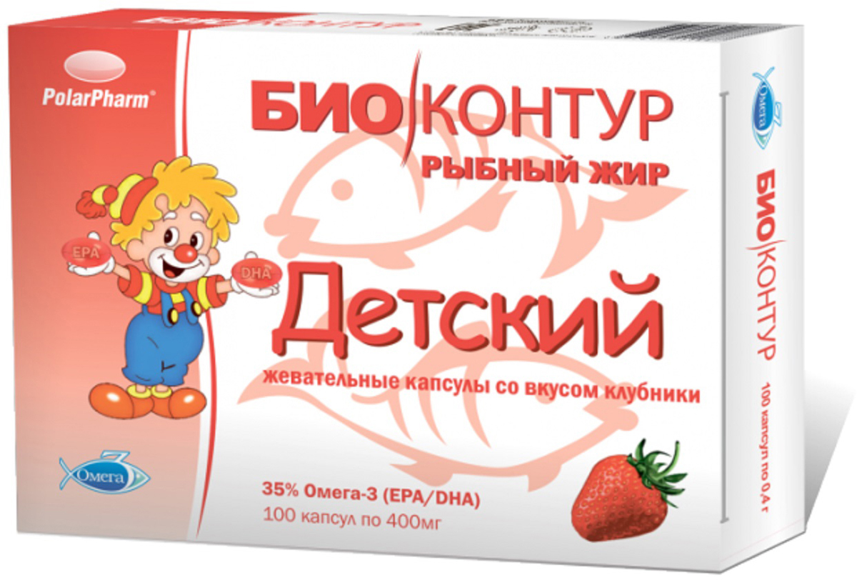 Рыбий жир детский со вкусом клубники капсулы жевательные 400 мг №10015991Полярис ООО, Российская Федерация, Рекомендуется в качестве дополнительного источника полиненасыщенных жирных кислот Омега-3, в том числе эйкозапентаеновой и докозагексаеновой кислот. ; жир океанических рыб, оболочка (глицерин (пластификатор), желатин, крахмал, вода, ароматизатор натуральный Клубника, краситель натуральный (кармин)), ароматизатор натуральный Клубника, антиокислители (смесь токоферолов, аскорбил пальмитат) Сфера применения: ВитаминологияОмега