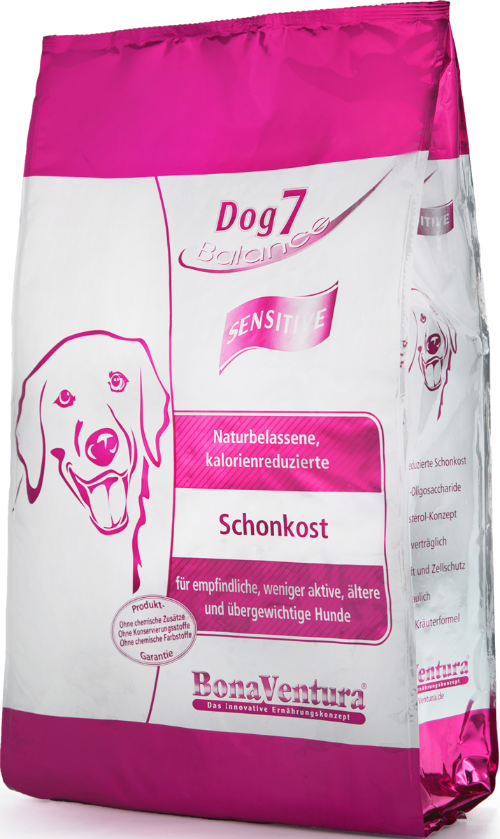 Корм сухой BonaVentura Dog 7 Sensitive для взрослых собак, склонных к полноте, 5 кг5649120Натуральный корм BonaVentura Dog 7 Sensitive предназначен для взрослых собак, склонных к полноте. Он произведен из продуктов, пригодных в пищу человека по специальной технологии, схожей с технологией Sous Vide. Благодаря технологии при изготовлении сохраняются все натуральные витамины и минералы. Это достигается благодаря бережной обработке всех ингредиентов при температуре менее 80 градусов. Такая бережная обработка продуктов не стерилизует продуктовые компоненты. Благодаря этому корма не нуждаются ни в каких дополнительных вкусовых добавках и сохраняют все необходимые полезные вещества.При производстве кормов используются исключительно свежие натуральные продукты: мясо, овощи и зерновые; Приготовлено из 100% свежего мяса, пригодного в пищу человеку; Содержит натуральные витамины, аминокислоты, минеральные вещества и микроэлементы; С экстрактом масла зародышей зерна пшеницы холодного отжима (Bio-Dura); Без химических красителей, усилителей вкуса, искусственных консервантов и химических добавок; Без ГМО; Без мясокостной муки; Без сои.Товар сертифицирован.