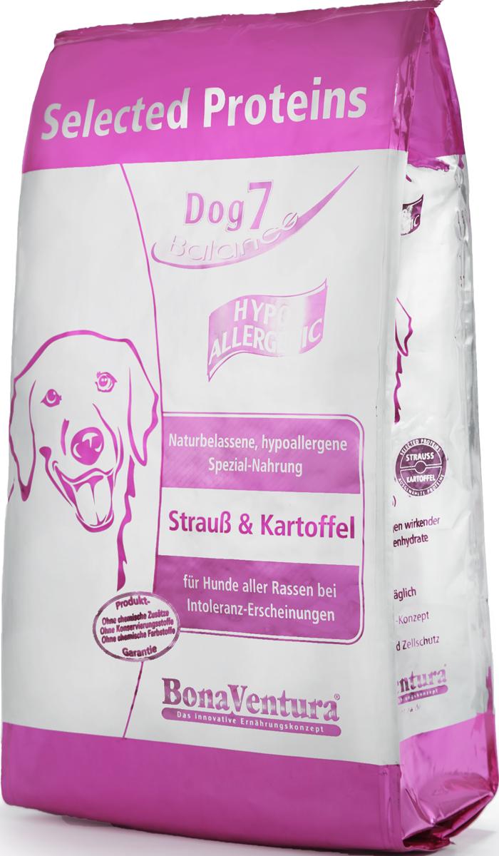 Корм сухой BonaVentura Dog 7 Hipo Allergenic для собак, гипоаллергенный, со страусом и картофелем, 3 кг205703Корм сухой BonaVentura Dog 7 Hipo Allergenic - это натуральный гиппоаллергенный корм для собак. Корм произведен в Германии из продуктов, пригодных в пищу человека, по специальной технологии схожей с технологией Sous Vide. При изготовлении сохраняются все натуральные витамины и минералы. Это достигается благодаря бережной обработке всех ингредиентов при температуре менее 80°С. Такая бережная обработка продуктов не стерилизует продуктовые компоненты. Благодаря этому корма не нуждаются ни в каких дополнительных вкусовых добавках и сохраняют все необходимые полезные вещества. Особенности:- При производстве кормов используются исключительно свежие натуральные продукты: мясо, овощи и зерновые; - Приготовлено из 100% свежего мяса, пригодного в пищу человеку; - Содержит натуральные витамины, аминокислоты, минеральные вещества и микроэлементы; - С экстрактом масла зародышей зерна пшеницы холодного отжима (Bio-Dura); - Без химических красителей, усилителей вкуса, искусственных консервантов и химических добавок; - Без ГМО; - Без мясокостной муки; - Без сои.Состав: свежее мясо, печень, сердце страуса 75%, натуральный картофель 20%, пивные дрожжи, витамины и минералы.Пищевая ценность: Белки 22,2%, Жиры 7,9%, Клетчатка 3,8%, Зола 6,9%, Влажность 9,0%, Кальций 1,6%, Фосфор 0,9%, Витамин B1 3,0 мг/кг, Витамин B6 5,0 мг/кг, Витамин B12 35 мкг/кг, Биотин 320 мкг/кг, Железо 100 мг/кг, Медь 10,5 мг/кг, Селен 0,35 мг/кг.Товар сертифицирован.