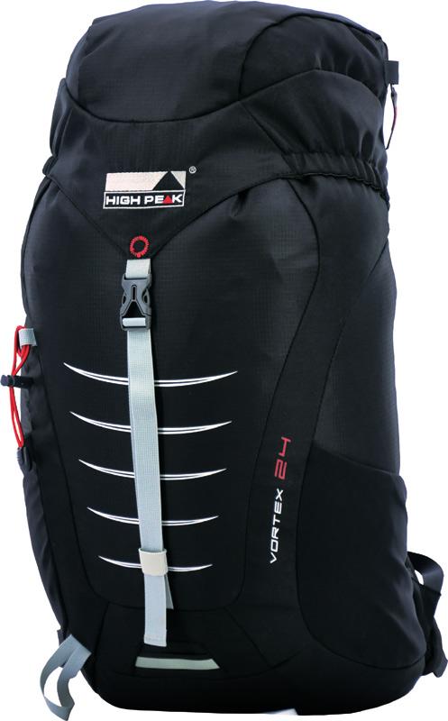 Рюкзак туристический High Peak Vortex, цвет: черный, 24 л30163Компактный легкий спортивный рюкзак для походов одного дня с продуманной конструкцией. Верхняя загрузка, система подвески Airtex обеспечивает вентиляцию спины и комфорт при ношении. Высококачественные материалы.Преимущества и особенности: Эластичные боковые карманы для бутылок воды Карман в крышке рюкзака Система подвески Airtex Мягкие уплотненные плечевые лямки анатомической формы Съемная грудная стяжка Поясной ремень Держатели для трекинговых палок Светоотражающее крепление для мигающего маячка Отделение для питьевой системы Дождевой чехол