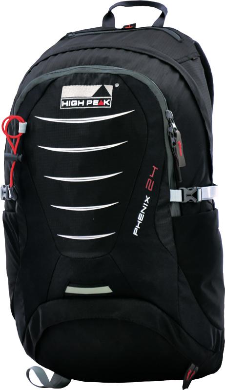 Рюкзак туристический High Peak Phenix, цвет: черный, 24 лWS 7040Легкий спортивный рюкзак с доступом на молнии в основное и нижнее отделение. Идеально подходит для походов и активного отдыха в выходные. Два отделения для аккуратного хранения вещей и передний карман на молнии для маленьких необходимых предметов - всё это вы найдете в рюкзаке Phenix 24. Преимущества и особенности: Нижнее отделение со съемной перегородкой Система спины Airtex из сетчатой ткани для оптимального проветривания и комфорта Плечевые ремни из высокоплотного перфорированного вспененного материала, покрытые сетчатой тканью Регулируемая по высоте грудная стяжка Поясной ремень со сформированными боковыми частями Передний карман на молнии со встроенным органазейром Эластичные боковые карманы Внутренний карман для ценных вещей Компрессионные ремни для регулирования объема Дождевой чехол Держатели для трекинговых палок Отделение для питьевой системы Светоотражающее крепление для мигающего маячка