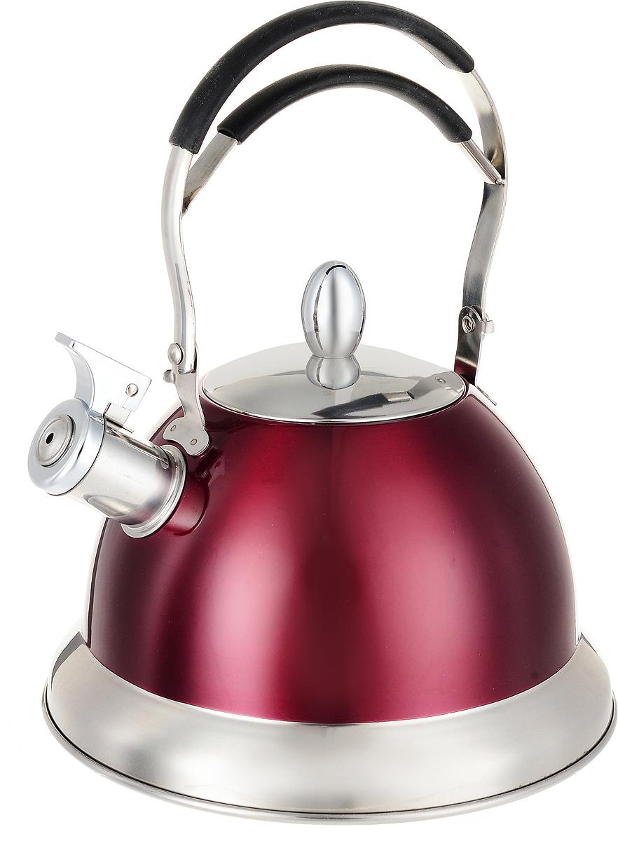 Чайник Mayer & Boch, со свистком, цвет: красный, 3 л. 23204391602Чайник Mayer & Boch выполнен из высококачественной нержавеющей стали, что делает его гигиеничным и устойчивым к износу при длительном использовании. Носик чайника оснащен откидным свистком, который громко оповестит о закипании воды. Подвижная ненагревающаяся ручка с силиконовой накладкой дает дополнительное удобство при использовании. Поверхность чайника гладкая, что облегчает уход за ним. Эстетичный и функциональный, с эксклюзивным дизайном, такой чайник будет оригинально смотреться в любом интерьере.Подходит для газовых, электрических, стеклокерамических, галогеновых, индукционных плит. Можно мыть в посудомоечной машине.Высота чайника (без учета ручки и крышки): 13 см.Диаметр чайника (по верхнему краю): 10 см.