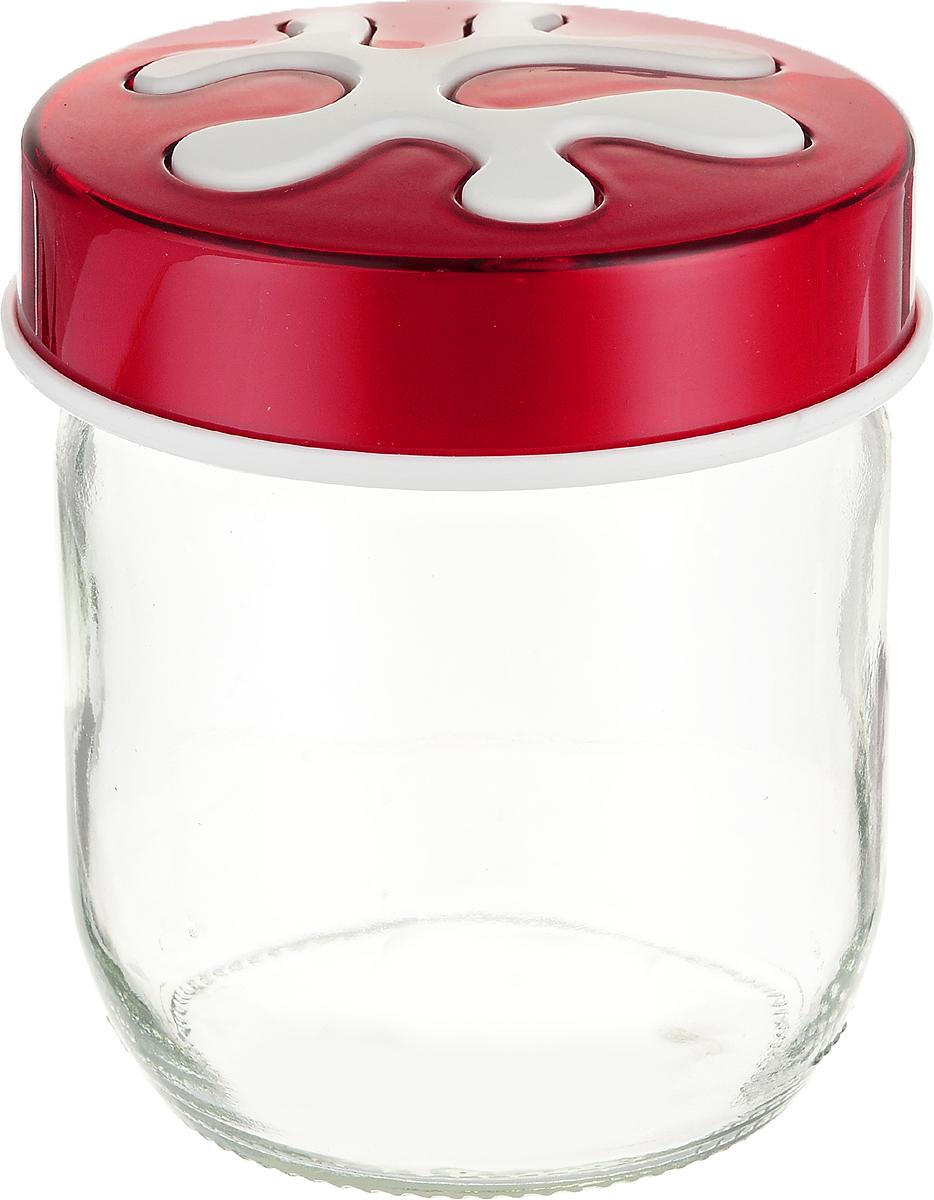 Банка для сыпучих продуктов Herevin, цвет: красный, прозрачный, 425 мл. 135357-205MT-1951Банка для сыпучих продуктов Herevin выполнена из высококачественного прочного стекла. Изделие снабжено плотно закручивающейся пластиковой крышкой с рисунком. Прозрачные стенки позволяют видеть содержимое. Такая банка отлично подойдет для хранения различных сыпучих продуктов: орехов, сухофруктов, чая, кофе, специй. Диаметр банки: 9 см. Высота банки: 10 см.