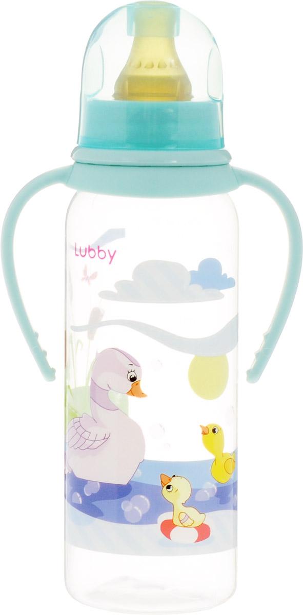 Lubby Бутылочка для кормления с латексной соской Веселые животные от 0 месяцев цвет бирюзовый 250 мл