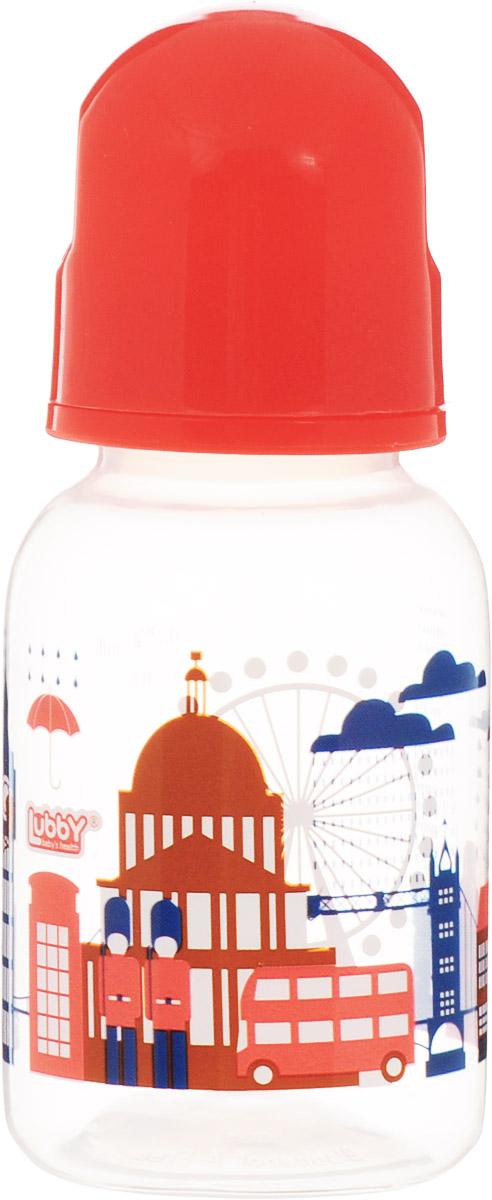 Lubby Бутылочка для кормления с силиконовой соской Я люблю от 0 месяцев цвет красный 125 мл