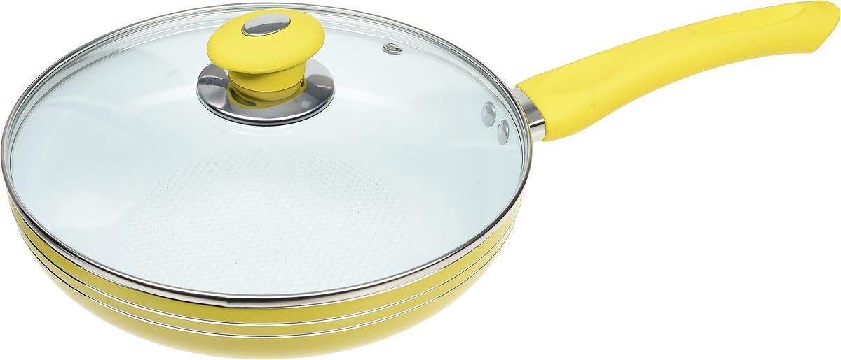 Сковорода Bohmann с крышкой, с керамическим покрытием, цвет: желтый. Диаметр 24 см. 6224WCRBH147306Сковорода Bohmann изготовлена из прочного алюминия с внутренним керамическим покрытием, которое обладает высокой прочностью. Кроме того, с таким покрытием пища не пригорает и не прилипает к стенкам. Готовить можно с минимальным количеством масла. Сковорода быстро разогревается, распределяя тепло по всей поверхности, что позволяет готовить в энергосберегающем режиме, значительно сокращая время, проведенное у плиты. Сковорода оснащена удобной пластиковой ручкой с силиконовым покрытием. Она не нагревается в процессе готовки и обеспечивает надежный хват. Крышка изготовлена из жаропрочного стекла, оснащена ручкой, отверстием для выхода пара и металлическим ободом. Благодаря такой крышке можно следить за приготовлением пищи без потери тепла. Подходит для газовых, электрических, стеклокерамических, галогеновых, индукционных плит. Можно мыть в посудомоечной машине.Диаметр сковороды (по верхнему краю): 24 см.Высота стенки: 5 см.Длина ручки: 19 см.Диаметр индукционного дна: 15 см.