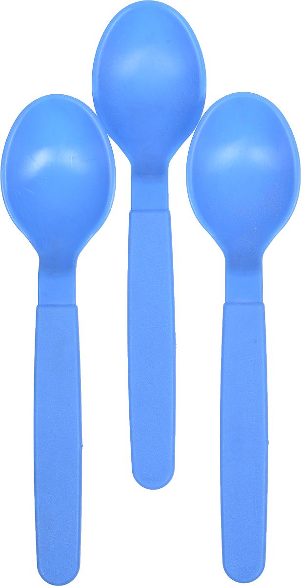 Ложка столовая Gotoff, цвет: голубой, 3 шт115610Столовые ложки Gotoff выполнены из прочного пищевого полипропилена. Отлично подойдут как для холодных, так и для горячих блюд. Ложки компактные, легкие и не занимают много места. Их удобно использовать на даче, брать с собой на пикники, в походы и поездки. Пластиковые столовые приборы легко моются, гигиеничны, не накапливают запахов. Длина ложек: 18,5 см.