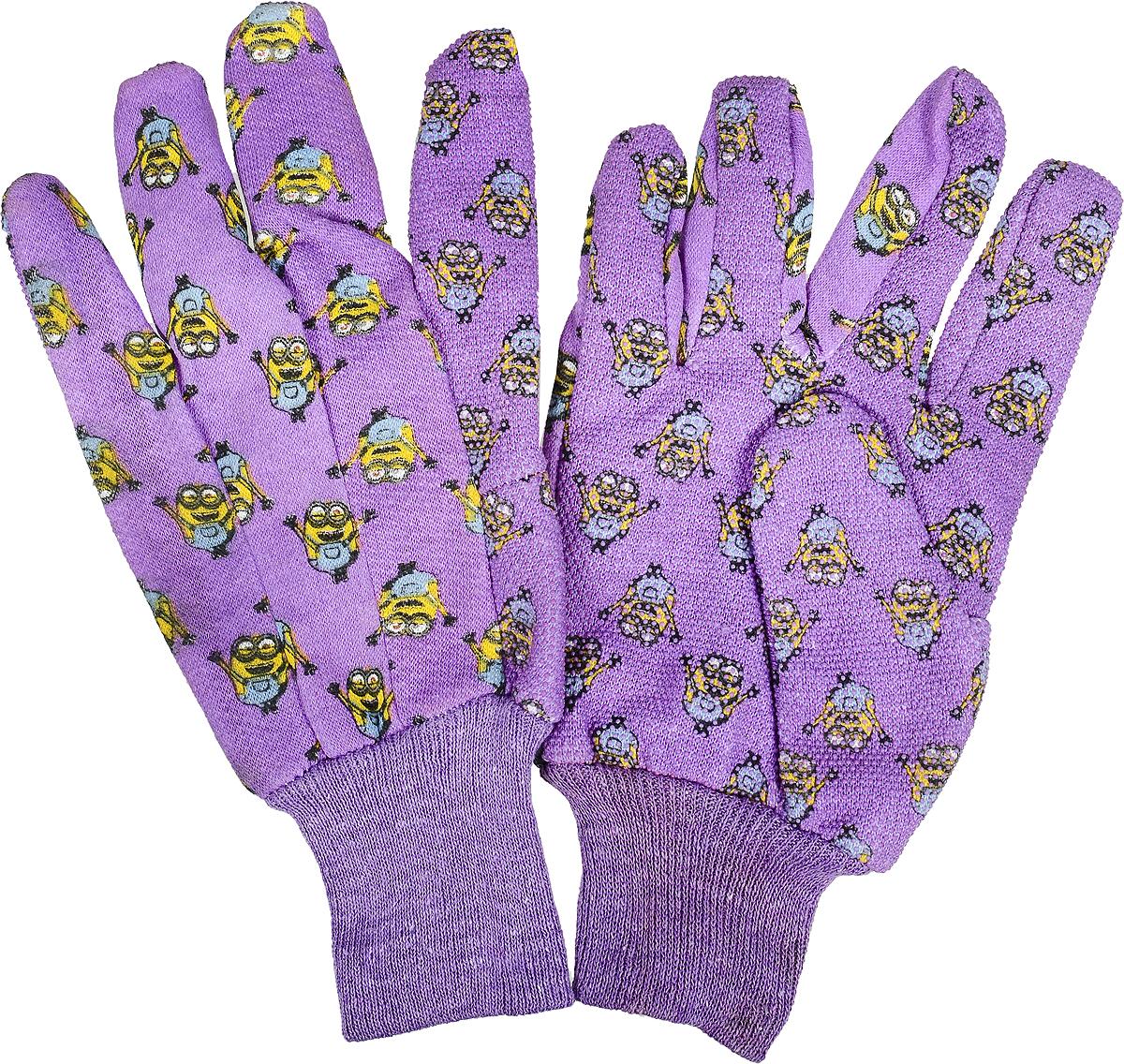 Перчатки садовые Garden Show Миньоны, трикотажные, цвет: сиреневый. Размер M (9)RC-100BPCПерчатки садовые Garden Show Миньоны выполнены из хлопка и полиэстера. Рабочая поверхность перчаток отделана поливинилхлоридом для надежного хвата. Эластичные манжеты надежно фиксируют перчатки на руке. Такие перчатки защитят руки от влаги, грязи и царапин при выполнении различных работ. Изделия дополнены красочным изображением миньонов.