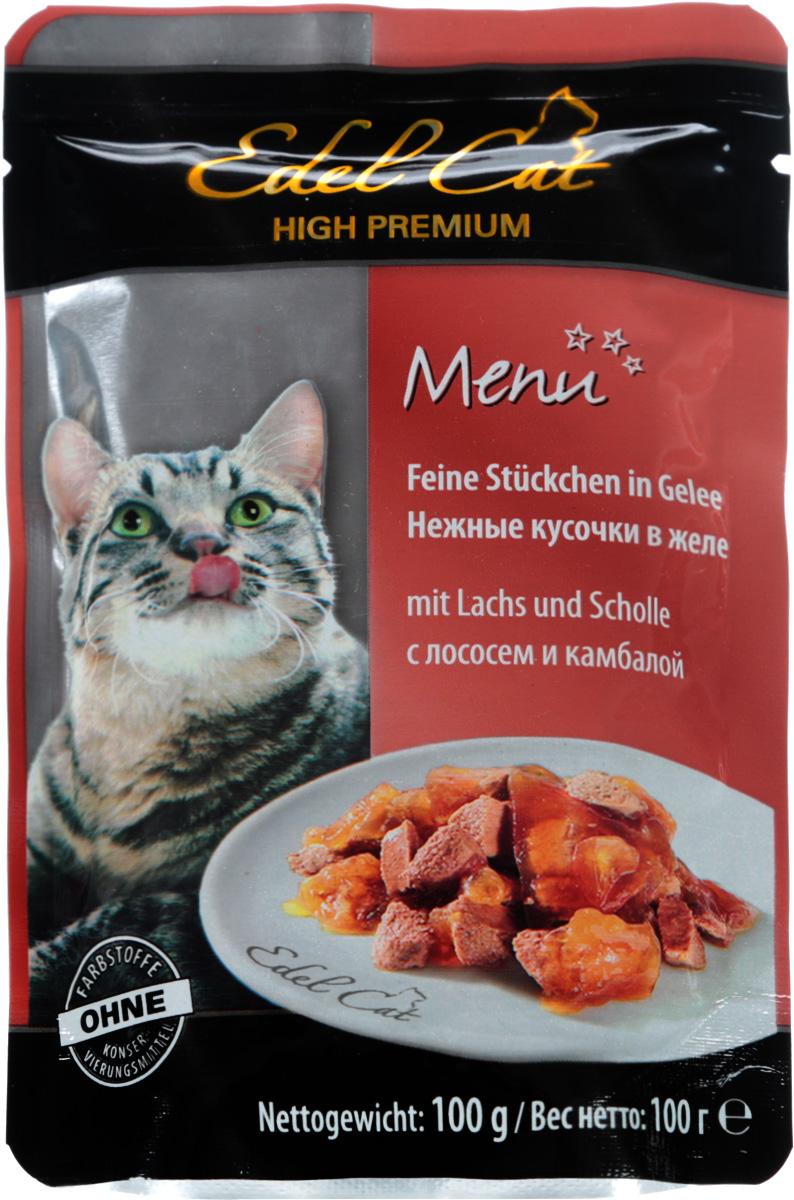 Консервы для кошек Edel Cat, с лососем и камбалой в желе, 100 г15146Консервы для кошек Edel Cat - полнорационный корм для взрослых кошек. Edel Cat с лососем и камбалой понравится вашей пушистой привереде. В изготовлении продукта была задействована только свежая отборная рыба. В корм не входят усилители вкуса и консерванты, поэтому ваши питомцы будут наслаждаться только натуральным вкусом рыбы. Лакомство содержит всевозможные полезные элементы. Например, в составе обнаруживается клетчатка. А это говорит о том, что продукт будет легко усваиваться. К тому же будет оказываться благотворное воздействие на желудок и пищеварительную систему. Edel Cat богат также жирными кислотами (омега-6, омега-3). Для организма кошек это очень важные элементы. Они улучшают состояние кожного покрова и шерсти. Кожа становится эластичной и увлажненной. У шерсти появляется здоровый блеск. Если вы погладите кошку, то заметите также, что шерсть стала более мягкой и гладкой. К тому же нельзя не отметить и то, что выпадение волос уменьшится. Состав: мясо и продукты животного происхождения, рыба и рыбные продукты (4% лосось, 4% камбала), минеральные вещества, сахар. Содержание питательных веществ: протеин 8%, жир 4,5%, зола 2,5%, клетчатка 0,3%, влага 82%.Пищевые добавки (на 1 кг): витамин D3 250 МЕ, витамин Е (альфа-токоферол) 15 мг, медь 1 мг. Товар сертифицирован.