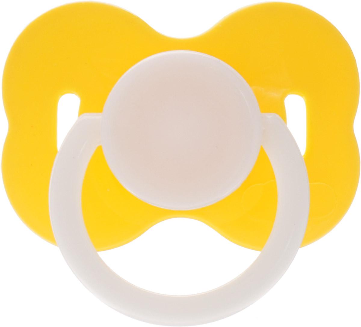 Lubby Пустышка силиконовая с колпачком от 6 месяцев цвет желтый