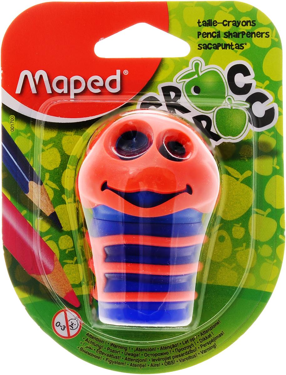 Maped Точилка Сroc Croc цвет оранжевый синий001700_оранжевый, синийТочилка Maped Сroc-Croc это точилка в виде забавной гусеницы, которая понравится детям и взрослым. Точилка изготовлена из пластика, имеет два отверстия разного диаметра, тело гусеницы служит контейнером. Предназначена для использования как в школе, так и в офисе.