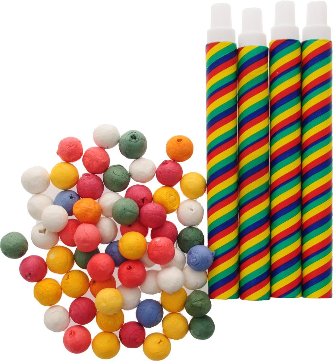 Веселая затея Трубочка с бумажными шариками 4 шт -  Аксессуары для детского праздника