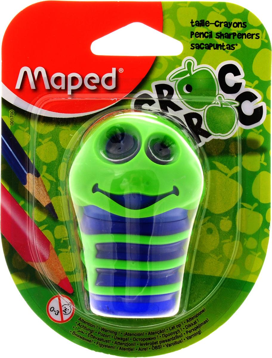 Maped Точилка Сroc Croc цвет зеленый синий72523WDТочилка Maped Сroc-Croc это точилка в виде забавной гусеницы, которая понравится детям и взрослым. Точилка изготовлена из пластика, имеет два отверстия разного диаметра, тело гусеницы служит контейнером. Предназначена для использования как в школе, так и в офисе.